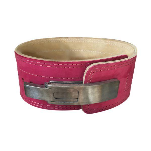 """Пояс для пауэрлифтинга с карабином 10 см """"Кобра"""" (3 слоя кожи) - розовый"""