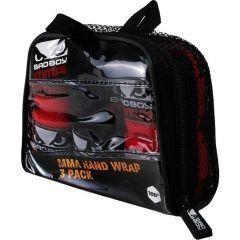 Боксерские бинты (набор) Bad Boy black - red 2.4м