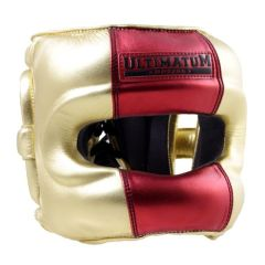 Боксерский шлем Ultimatum Boxing Gen3FaceBar gold - red