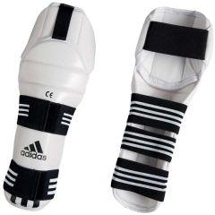Защита голени и колена для тхэквондо Adidas WTF Shin & Knee Pad Protector белая