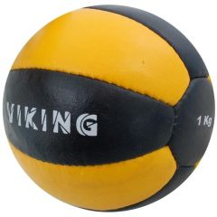 Медицинбол 1 кг Viking Medicine Ball Leather черно-желтый