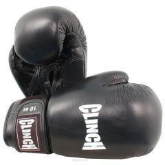 Перчатки боксерские Clinch Leather черные
