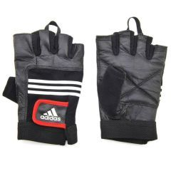Перчатки для фитнеса Adidas Leather Lifting Gloves черные