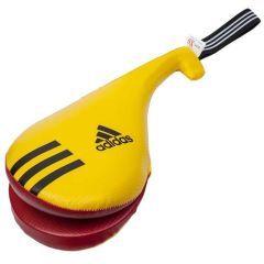 Ракетка для тхэквондо двойная Adidas Kids Double Target Mitt желто-красно-белая