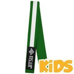 Детский пояс для кимоно Jitsu зеленый/белый