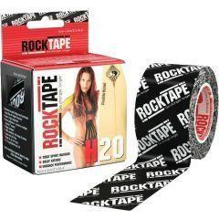 Водостойкий кинезио тейп Rocktape, 5см х 5м, черный лого