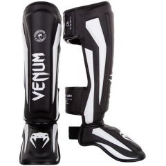 Тайские шингарды (накладки на ноги) Venum Elite - черный/белый