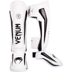 Тайские шингарды (накладки на ноги) Venum Elite - белый/черный