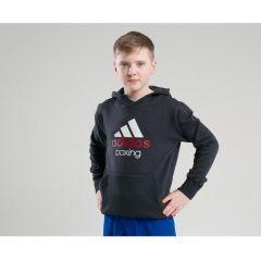 Толстовка с капюшоном (Худи) детская Adidas Community Hoody Boxing Kids черно-белая