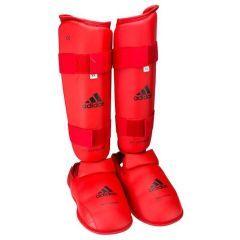 Защита голени и стопы Adidas WKF Shin & Removable Foot красная
