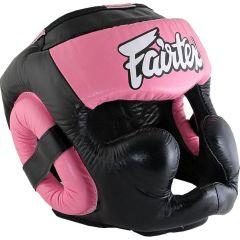 Боксерский шлем Fairtex Extra Vision - черный/розовый