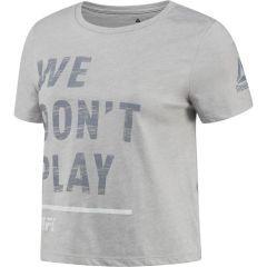 Укороченная женская футболка Reebok UFC - gray