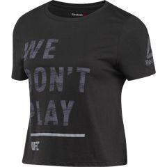 Укороченная женская футболка Reebok UFC - black