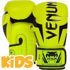 Детские боксерские перчатки Venum Elite - черный/салатовый