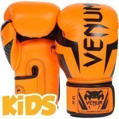 Детские боксерские перчатки Venum Elite - черный/оранжевый