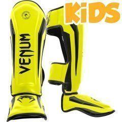 Детские тайские шингарды (накладки на ноги) Venum Elite - black/yellow