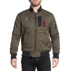 Бомбер Affliction Fly High Military Green Wash