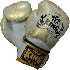 Боксерские перчатки Top King Snake Skin White/Gold