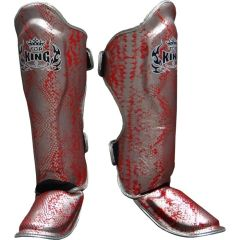 Защита на ноги (шингарды) Top King Boxing Snake Silver/Red