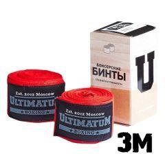 Боксерские бинты Ultimatum Boxing Red 3м