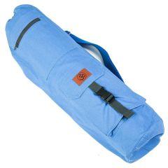 Хлопковая сумка для коврика Devi Yoga Сутра синяя