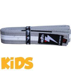 Детский пояс для кимоно БЖЖ Storm - серый/белый
