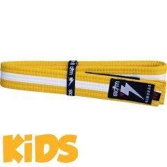Детский пояс для кимоно БЖЖ Storm - желтый/белый