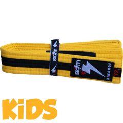 Детский пояс для кимоно БЖЖ Storm - желтый/черный