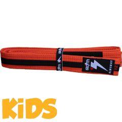 Детский пояс для кимоно БЖЖ Storm - оранжевый/черный