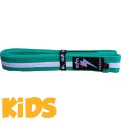 Детский пояс для кимоно БЖЖ Storm - зеленый/белый