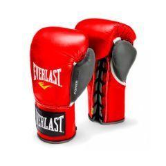 Боксерские перчатки профессиональные Everlast Powerlock красн/сер.