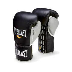Боксерские перчатки профессиональные Everlast Powerlock черн/сер.