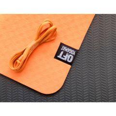 Мат для йоги 6 мм двухслойный Original FitTools оранжевый
