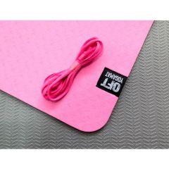 Мат для йоги 6 мм двухслойный Original FitTools розовый-серый